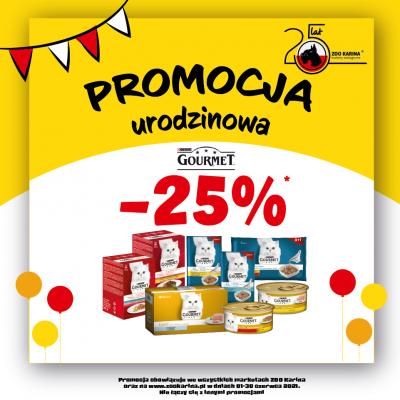 25% zniżki na karmę Gourmet ZooKarina oferta jubileuszowa